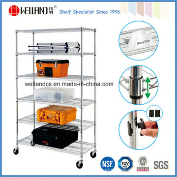 Approbation NSF Acier chromé ajustable Garage Tools Storage Rack