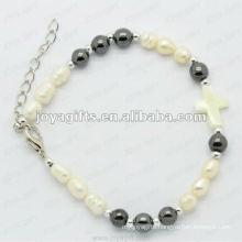 """Magnetic Hematite Pearl Beaded Bracelet 7.25"""""""