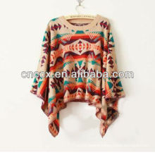 13STC5504 lady crewneck pullover ponchos wool