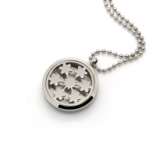 30mm Stainless Steel Round Snowflake Hollow Perfume Locket