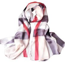175 cm de comprimento de seda pura das mulheres de seda pura imprimir xadrez hijab lenço de seda