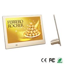 Cadre photo numérique multifonctions LCD de 10,1 pouces avec cadre en aluminium doré