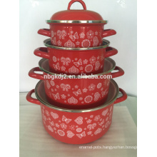 hot enamel pot sets with light color and decal