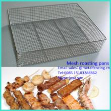 2014 im freien verwendet feine kühlung pfannen non stick rechteck grill grill pfannen edelstahl mesh röstpfannen