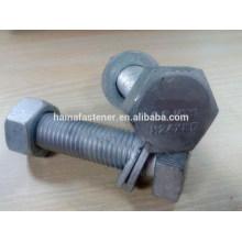M24*85 galvanized hex bolt gr8.8 with nut washer