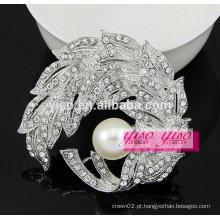 Broche decorativo de folha de flor de moda de cristal