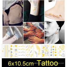 ЭКО-дружественных мода золото металлический вспышка золото татуировки наклейка