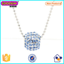 Mode Metall Silber Kristall Slider Perlen Charm Halskette # Scn006