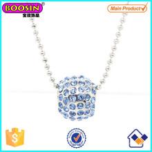 Moda Metal Prata Cristal Slider Beads Charme Colar # Scn006