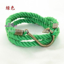 Wholesale Fashion Fish Hook Bracelet Anchor Nautical Rope Bracelet Men Jewelry