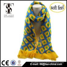 two print bright colour checks knitted design blend soft scarf