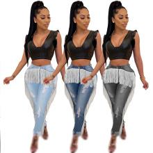 New Design Skinny Women Denim Pants Woman Jean with Tassel Design