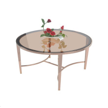 Brown stainless steel round coffee table