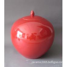 red colored glaze porcelain jar