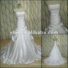 JJ2740 Perlen Satin trägerlosen Brautkleid neuesten Kleid Designs für Frauen Brautkleider