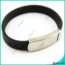 Pulseira de couro preto simples para o homem (lb16041947)