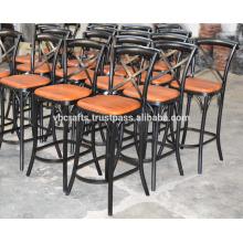 Chaise de bar à dossier en cuir industriel en cuir