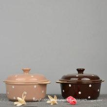 Glazed Color Dotted Design Ceramic Tureen