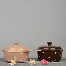 Soupière en céramique à motif pointillé de couleur glacée