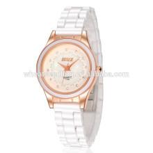 Requintado branco cerâmica mão clássica pulso relógios especiais clássico