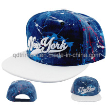 Flache Bill Splash Print Baumwoll Denim Baseball Cap (TMFL0715)