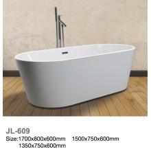 Weiße Acryl Freistehende Badewanne mit roter Linie
