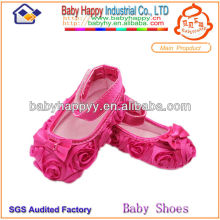 Shenzhen Supplier Hot pink Trendy Rosette Lace Girl Baby Dress Shoes