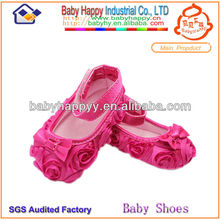 Fornecedor Shenzhen Hot pink moda Rosette Lace Girl Baby Dress Shoes