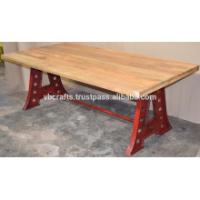 Cast Iron Classic Legs Dining Table with mango Wood Top