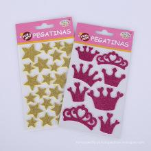 Segurança das etiquetas da coroa da estrela para o telefone móvel, etiqueta decorativa móvel do vinil do brilho