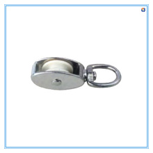 Die Casting Double Pulley with Swivel, Nylon Wheel, Nickel Plated