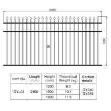 1,2 / 1,5 / 1,8 m. HX 2.4 M. W Rust-Free Aluminio Negro Sección de la valla