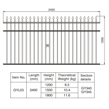 1.2/1.5/1.8m. H X 2.4 M. W Rust-Free Aluminum Black Fence Section