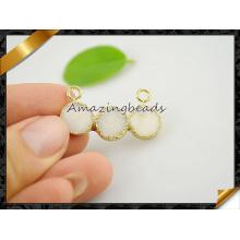 Venta al por mayor pendientes de joyería de Druzy blanco con doble fianza (EF0120)