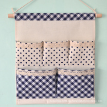 Linen Cotton Fabric 5 Pockets Wall Hold Pocket Household Back Door Pouch