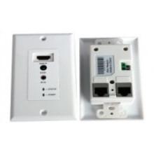 IR Remote Control 50m HDMI Wallplate Extender Via Dual UTP Cable