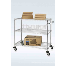 Einstellbare 3 Tier Knock Down Mobile Metal Utility Cart (CJ-A1212)