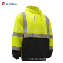 China Factory High Visibility Lime/Orange Hooded Sweatshirt Class 3 Safety Hoodie Work Shirt