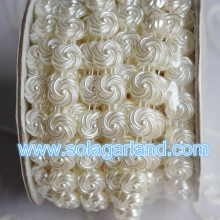 10 Yard/Roll Flat Back Flower Shape Pearl Bead String Trim