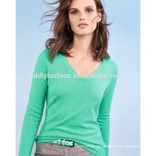 con cuello en v para mujer prendas de punto al por mayor suéter de cachemira