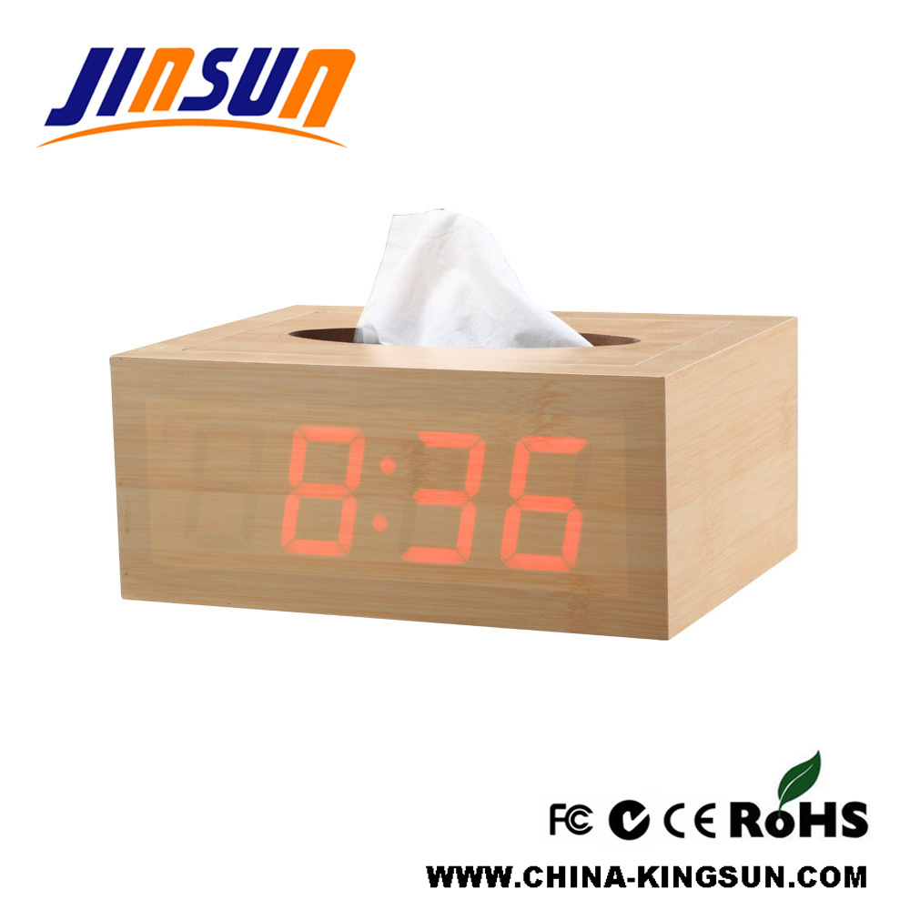 Homeware Woooden Tissue Paper Box With Led Clock