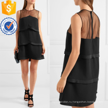 Черный тюль многоуровневое Раффлед без рукавов мини-летнее платье Производство Оптовая продажа женской одежды (TA0287D)