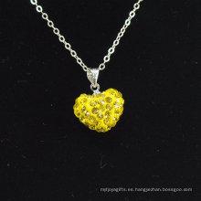 2014 nueva arcilla cristalina Shamballa del estilo de la venta al por mayor del collar de Shamballa de la forma del corazón de la nueva llegada con el collar de plata de las cadenas