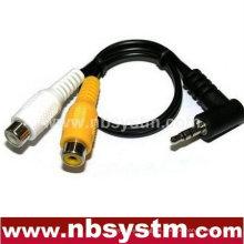 3.5 enchufe estéreo ángulo recto al adaptador del cable del gato 2RCA