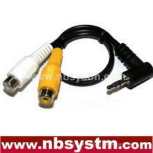 Adaptateur stéréo 3,5 à angle droit à 2RCA jack adaptateur de câble