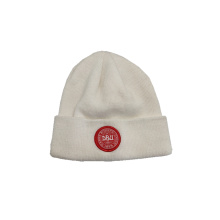 2019 white acrylic knitted hat with embroidery logo for adult