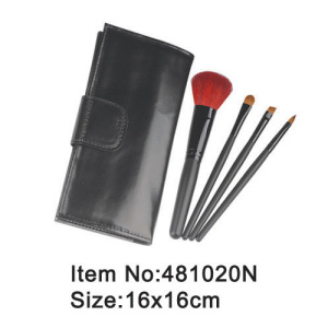 4pcs plastic handle makeup brush kit with PU holder