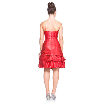Ball Gown Spaghetti Straps Knee-Length Taffeta Ruffled Cocktail Dress