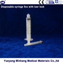 Seringue stérile à usage unique 5 pièces 5 ml (luer lock)