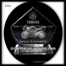 Prix de cristal de moto en cristal 3D de laser